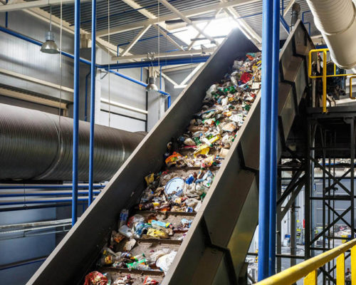 moving conveyor transporter on Modern waste recycling processing